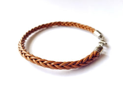 Men's Leather Bracelet - Skinny Brown Braided