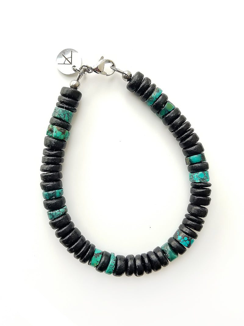 Men's Beaded Bracelet - Midnight Turquoise