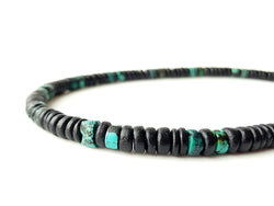 Men's Beaded Necklace - Midnight Turquoise.