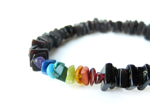 Men's Beaded Bracelet - Rainbow Surfer