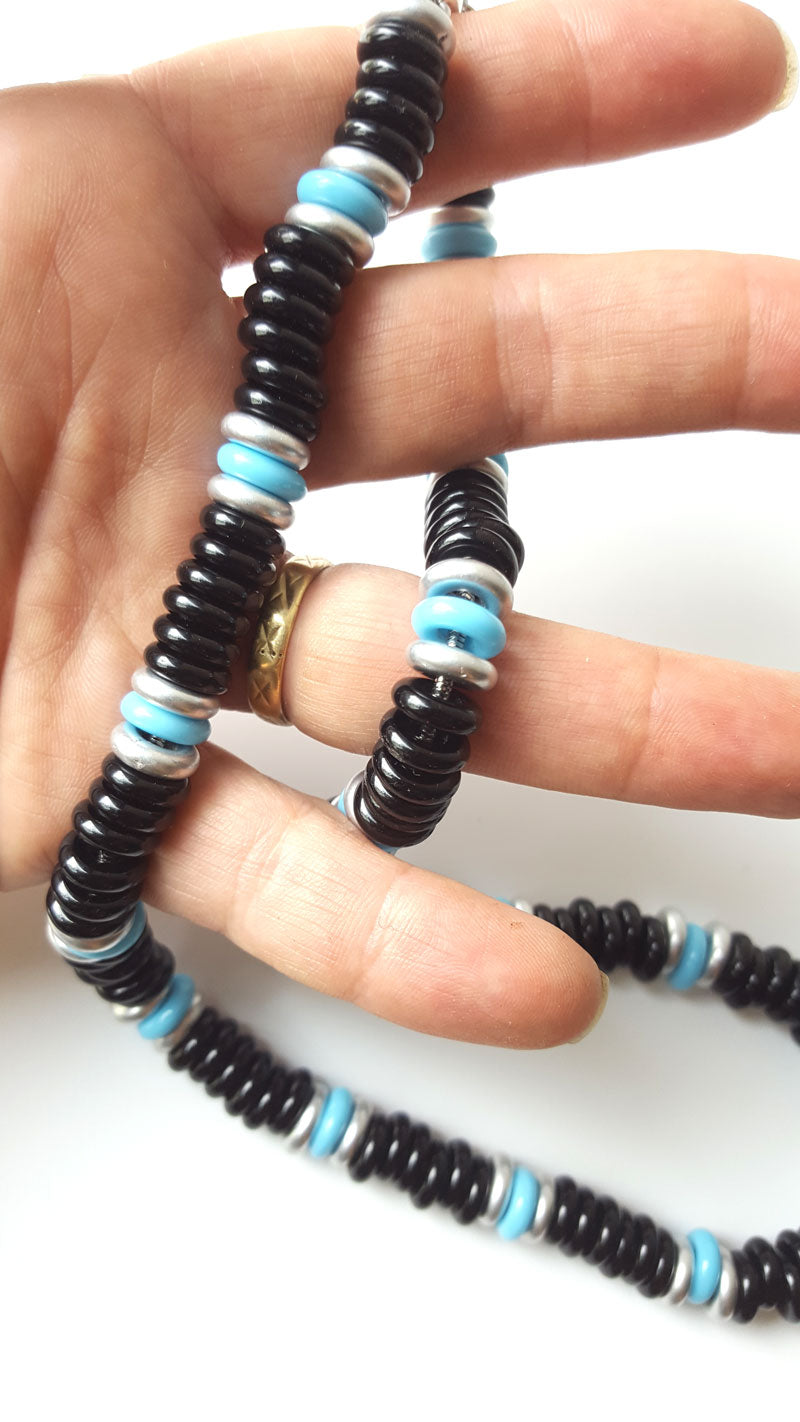 Men's Designer Necklace - Turquoise and Silver