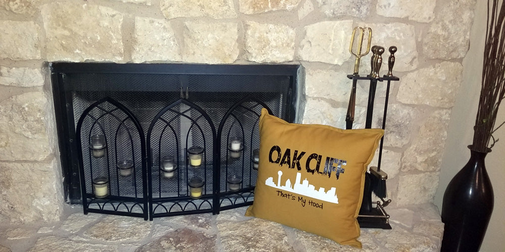 MillieBee Design Custom Pillows - Oak Cliff pillow near fireplace