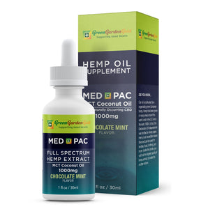 20% OFF 1000mg Med Pac Hemp Oil - MCT Coconut Oil Chocolate Mint Flavor