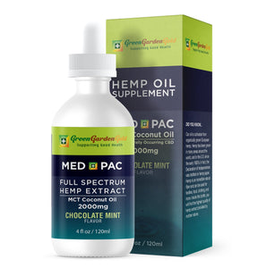 30% OFF 2000mg Med Pac Hemp Oil - MCT Coconut Oil Chocolate Mint Flavor