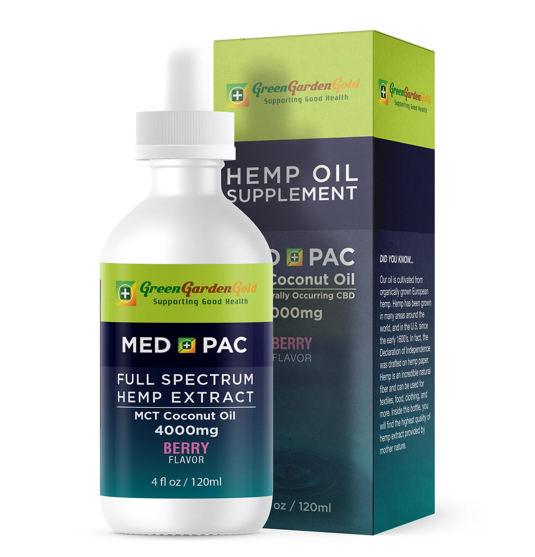 30% OFF 4000mg Med Pac Hemp Oil - MCT Coconut Oil Berry Flavor