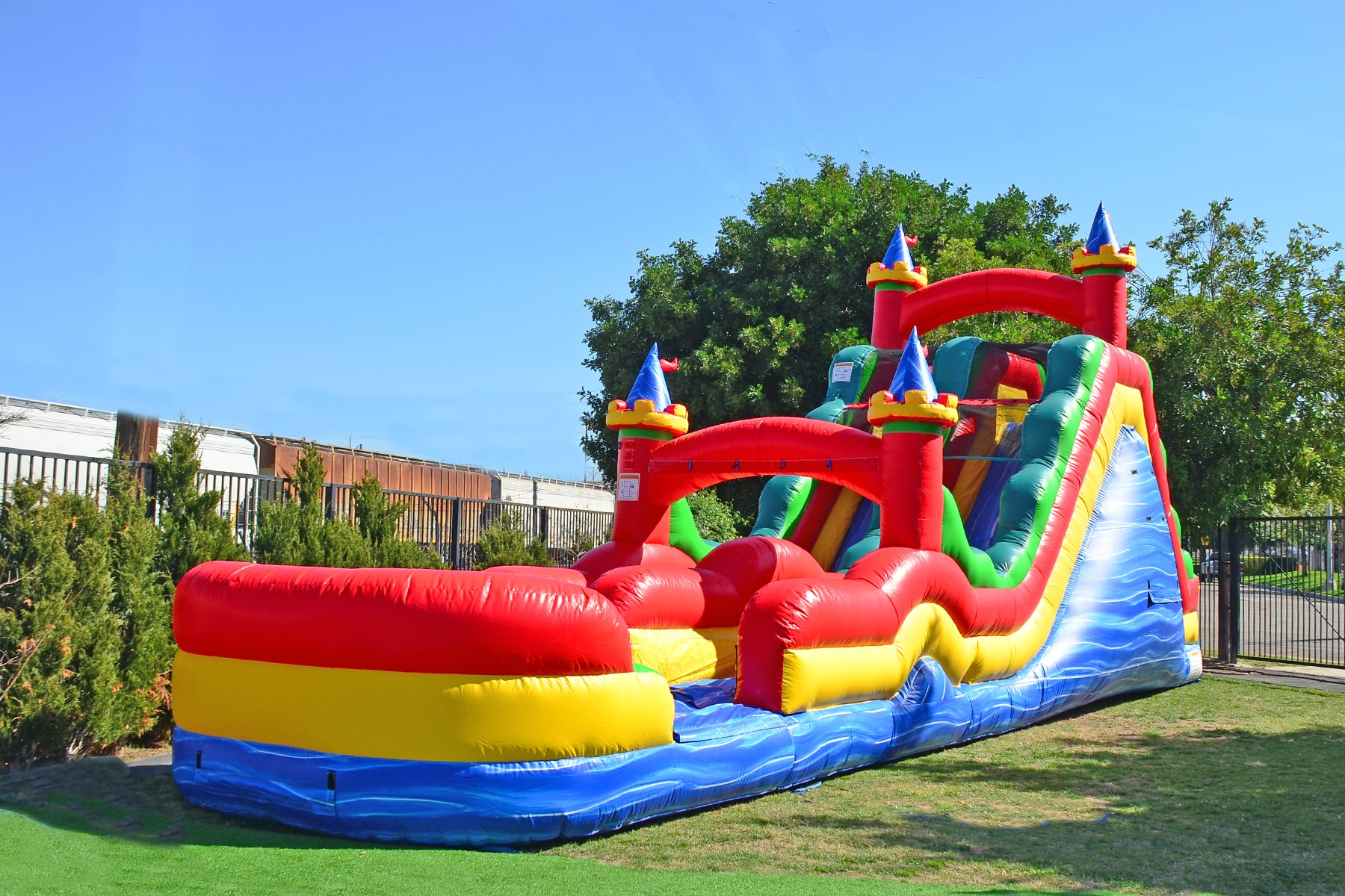 75 FT CIRCUS OBSTACLE WITH DUAL LANE ROLLER COASTER SLIDE