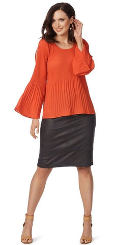 TABLE EIGHT Vermillion Pleat Cold Shoulder Top Size 8 & 18 - RRP$89.99