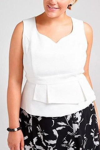 TAKING SHAPE White 'Allure' Peplum Top Size 18
