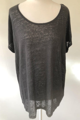 TBC Black Relaxed Fit Linen Tee Top Size 20