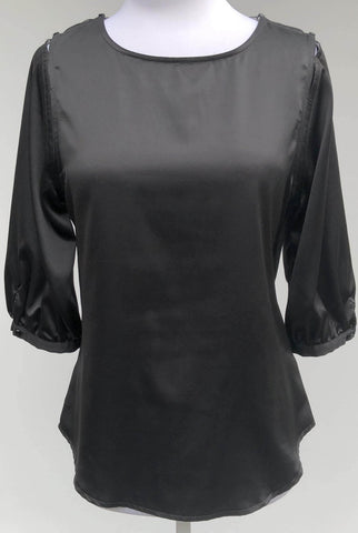 CONTONY Black Cuffed 3/4 Sleeve Blouse, Size 10