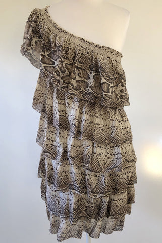 COUNTRY ROAD Python Print Silk Ruffle Dress Size 8