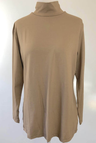 LIOR Tan High Neck Long Sleeve Top Size L
