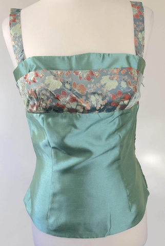 EMBRACE Cyan Oriental Inspired Cami Top Size 10