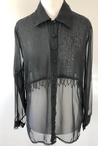 BAG LADY Black 'Moods' Beaded Sheer Blouse Top Size 10