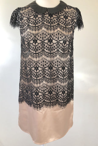 JDC JU's Blush & Black Lace Overlay Dress Size M
