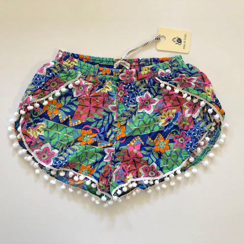 MIKA & GALA Tropical Pom Pom Shorts Size 8 & 12