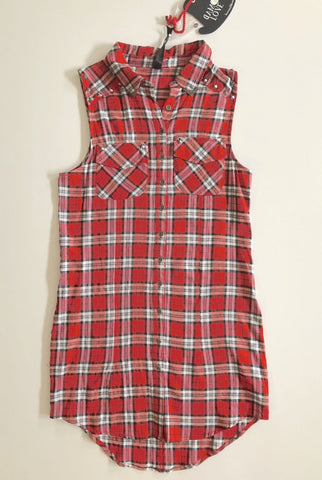 MAD LOVE Red Check Dress Shirt Size XS