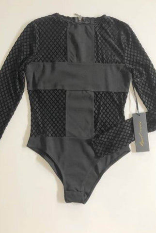 NANA JUDY Black Velvet Diamond Cross Bodysuit Top Size 6 & 8