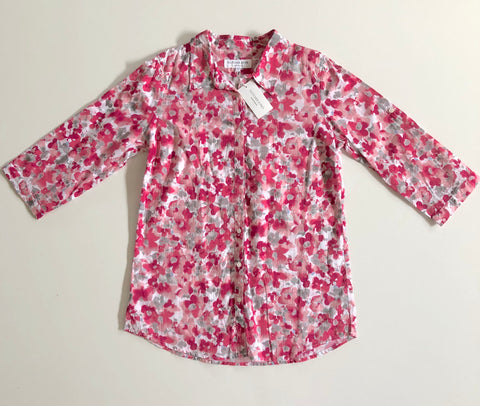 FLETCHER JONES Red Blossom Shirt Top Size 8