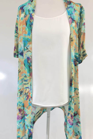 ESELAH Multi Colour Open Front Summer/Beach Cover Cardigan Size XS, S, M & L