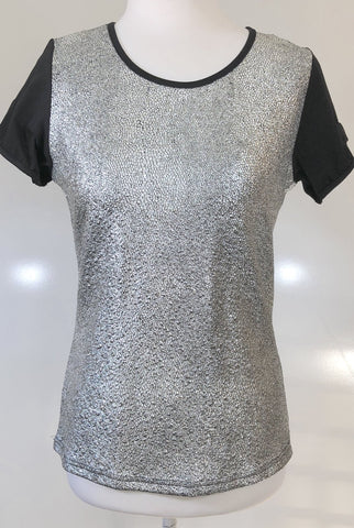 WILDE HEART by Madison Square Silver Tee Top Size 8, 10 & 12