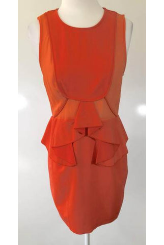 WHO I AM Tangerine Frill Dress Size 10 & 12