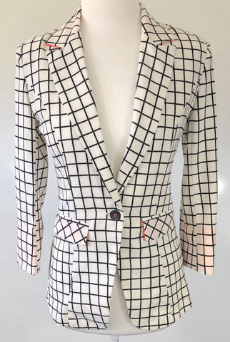 MADISON SQUARE White or Black Check Jacket Size S, M & L