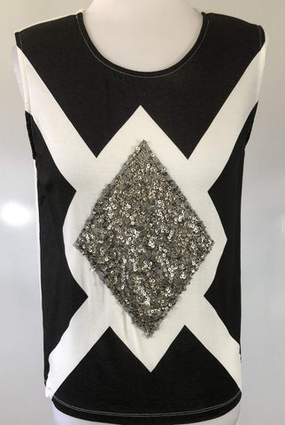 MADISON SQUARE Sleeveless Sequin Diamond Top Size S, M & L