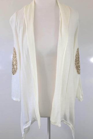 MADISON SQUARE Ivory Sequin Sleeve Cardigan Size S, M & L