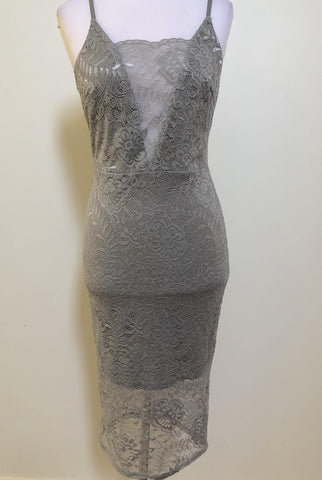 LEVORA Silver Lace Fitted Dress Size 10, 12 & 14