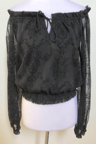 STYLE STATE Black Sheer Off-Shoulder Peasant Top Size 10 & 14