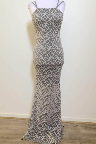 LEVORA Silver Evening Lace Dress Size 10, 12 & 14