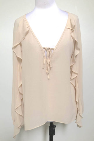 3RD LOVE Nude Frill Sleeve Blouse Top Size 8, 10, 12 & 14 (BNWOT)