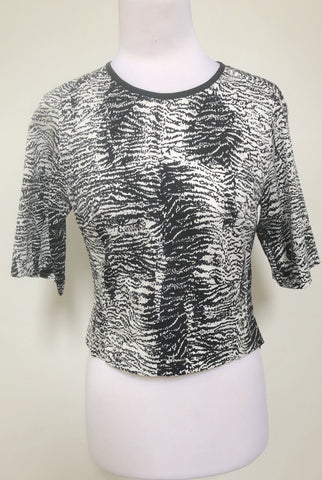 VERONIKA MAINE Black and White Crop Top Size 8