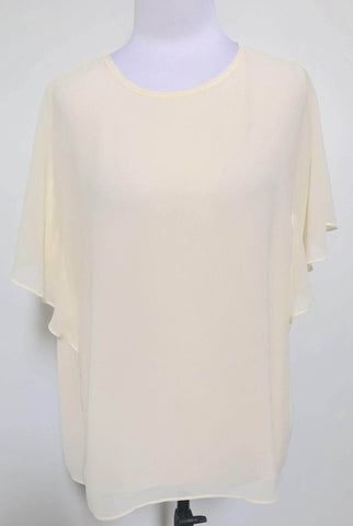 UNIQLO Yellow Georgette Ruffle Sleeve Blouse Top Size XL