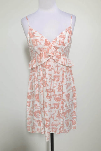 DOTTI Peach/White Frill Dress Size 10