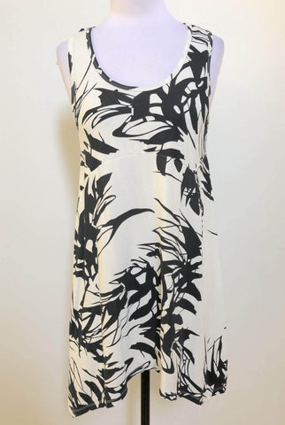 AYVA Cream/Black Floral Tunic Top Dress Size 12 & 14