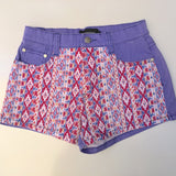 MINK PINK Purple Aztec Print Denim Shorts Size S