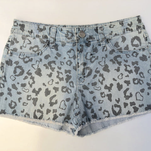 KENJI Blue Wash Leopard Print Denim Shorts Size 10 (BNWOT)