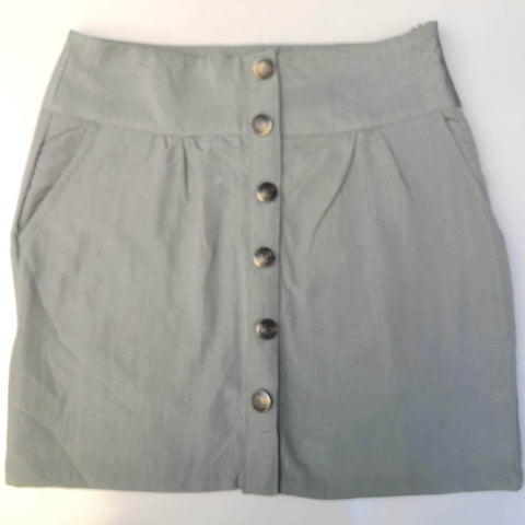 ALL ABOUT EVE Silver Button Front Skirt Size 10