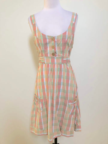 JUST ADD SUGAR Peach Check Tie Back Pocket Dress Size 10 & 16