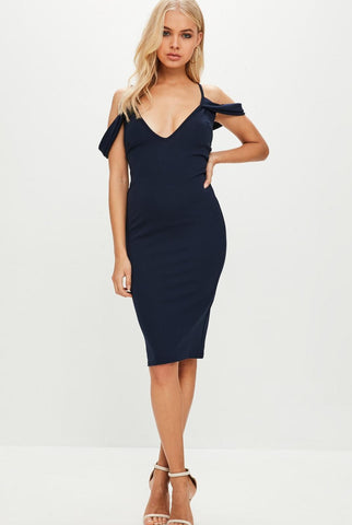 MISSGUIDED Frill Sleeve Plunge Scuba Midi Dress Size 4
