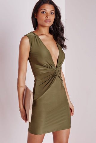 MISSGUIDED Natural Slinky Knot Front Plunge Dress Khaki Size 12
