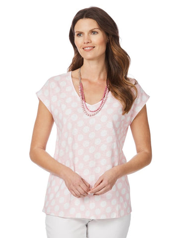 W.LANE Polka Dot Tee Blush Top Size M, L & XL
