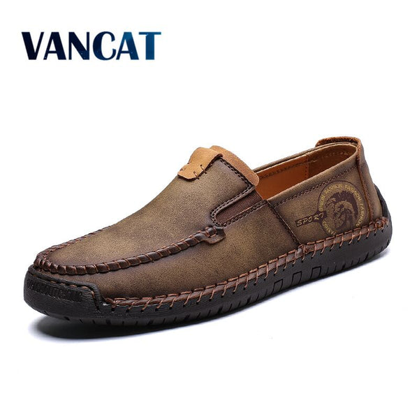 4c291c2dbe614 Men's Shoes - 2019 New Fashion Style Leather Spring Casual Shoes Men  Handmade Vintage Loafers