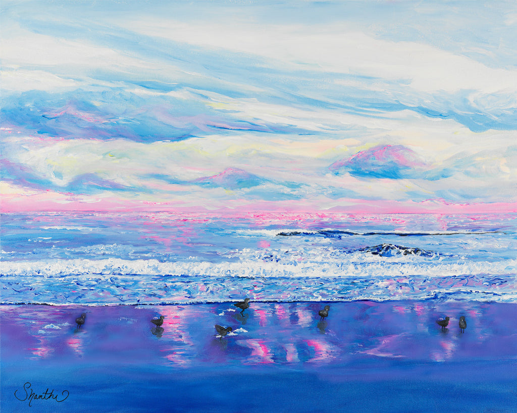 pink ocean, pink waves, calm waves, seascape, calm waters, impressionism, the coast, pink sky