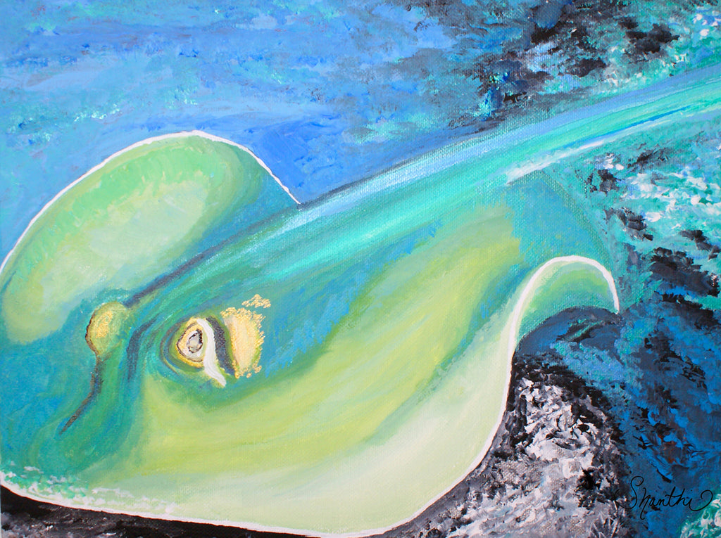stingray, sea creatures, ocean animals, kids room art,