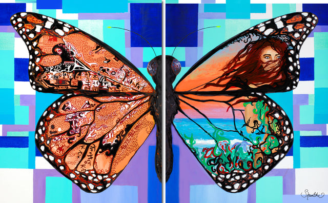 art psychology, psychologist office decor, psychology gifts, interior design psychology, butterfly art, butterfly painting, set of two canvas prints,