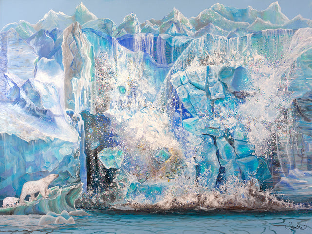 impactful art for climate change,  shanthi thiruppathi, polar bear habitat, polar bear art print, polar bear images, polar art, glacier pictures, paintings of glaciers, ice art, iceberg breaks off, ice glaciers melting