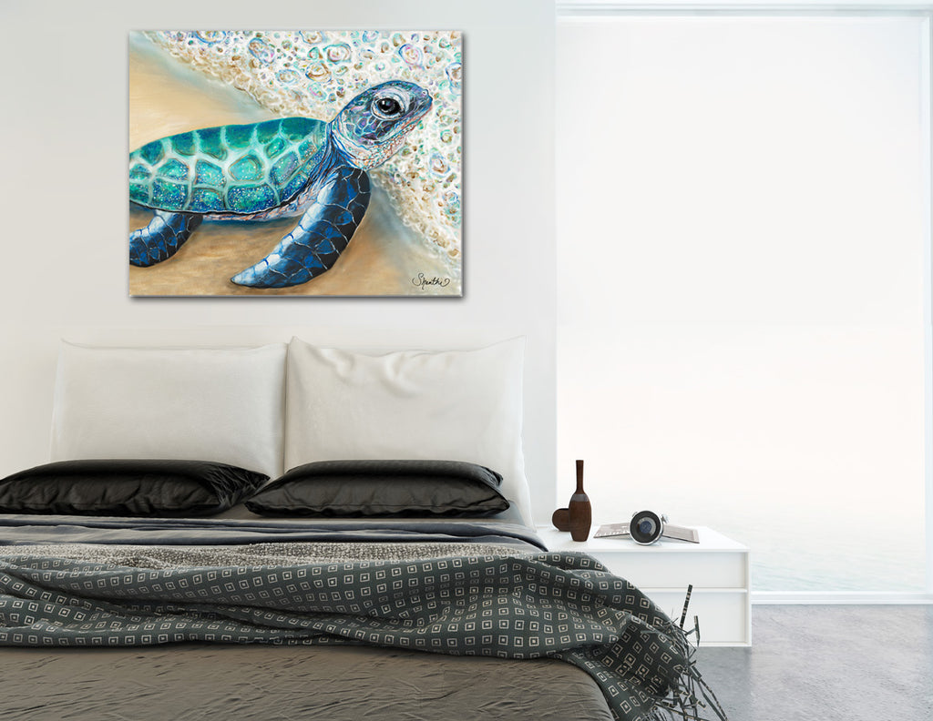 sea turtle prints, painted turtle, green sea turtle, baby sea turtles, kids room beach decor, sea turtle home decor, canvas nursery pictures